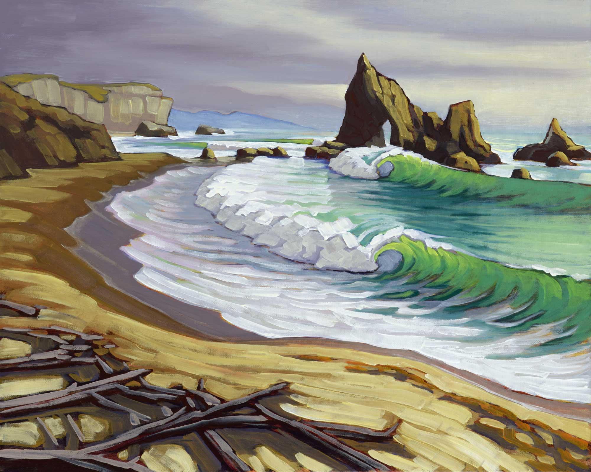 Plein air artwork from Martin's Beach on the San Mateo coast of Central California