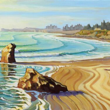Plein air artwork from Pebble Beach in Crescent City on the Del Norte coast of Northern California