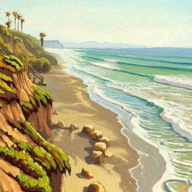 Plein air artwork from Grandview Beach on the san Diego coast of southern California