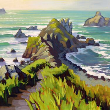 Plein air artwork from Scotty Point near Patrick's Point State Park on the Humboldt Coast of northern California