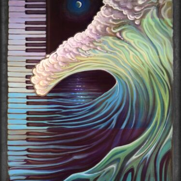Live art painting of piano keys and a wave from the Redwood Coast Music Festival in humboldt county california