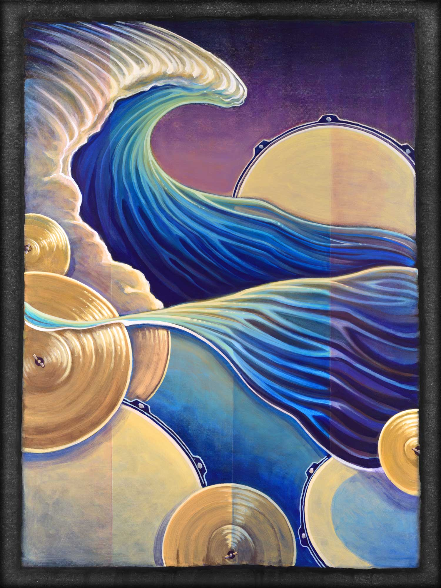 Live art painting of a drum wave painted at the Redwood Coast Music Festival in Humboldt