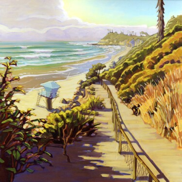 Plein air artwork from the path to Pipes at San Elijo State Park on the San Diego coast of southern California