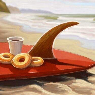 Plein air still life artwork of a surfboard donuts and coffee on the beach on the San Diego coast of southern california