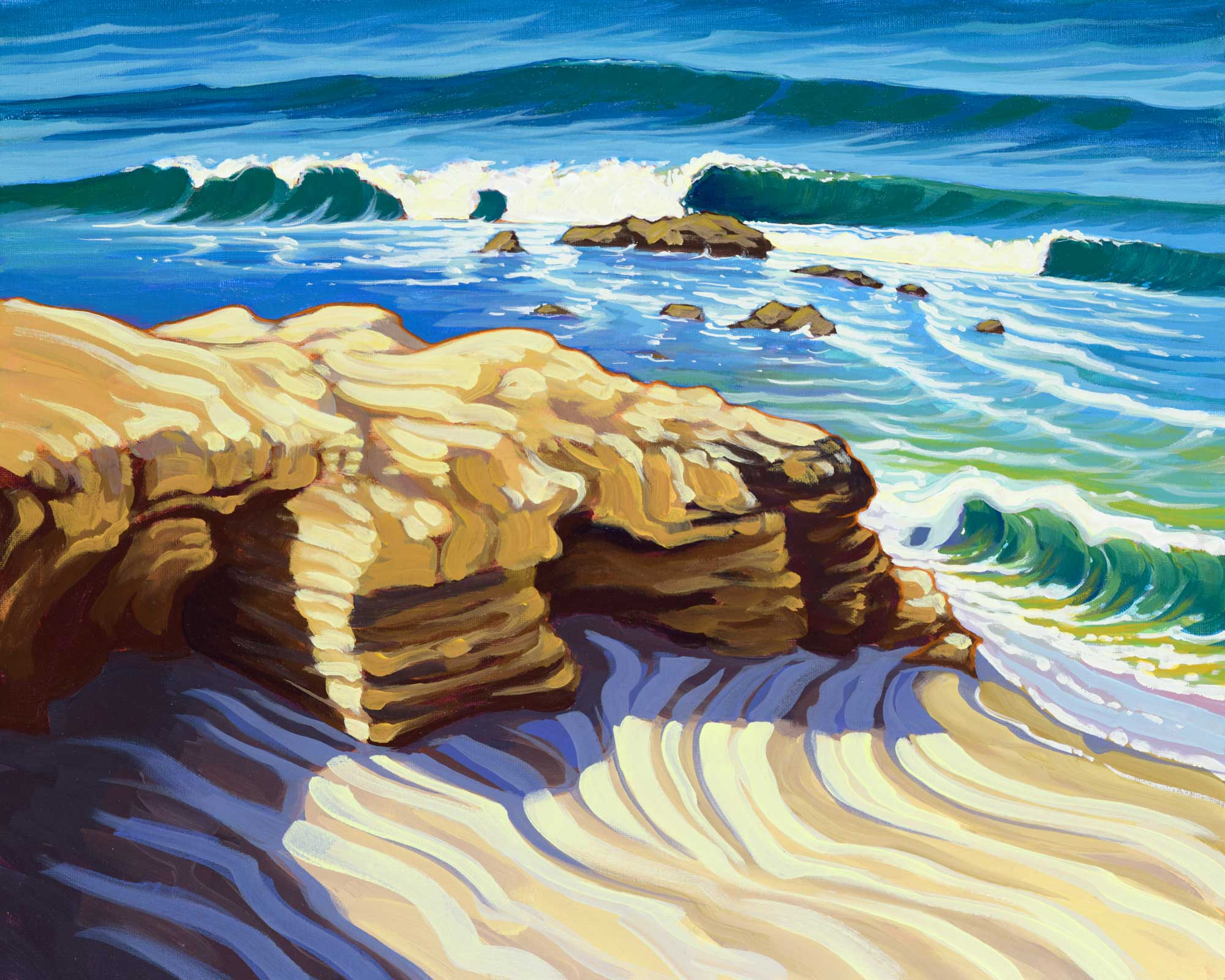 Plein air artwork from the beach near windansea on the la jolla coast of san diego in southern california