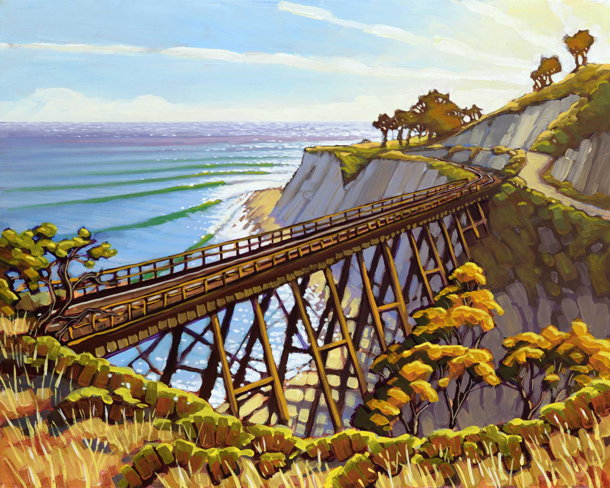 Plein air artwork of the railroad trestle on the Hollister Ranch on the santa barbara coast of southern california