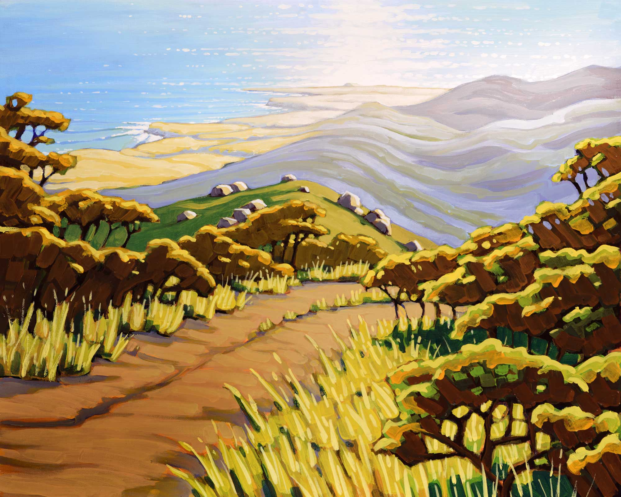 Plein air artwork from the the hollister ranch with a view of cojo point and point conception on the santa barabara coast
