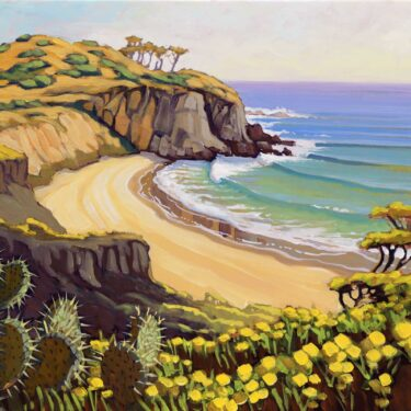 Plein air artwork of El Moro headland at Crystal Cove State Park on the orange county coast of southern California