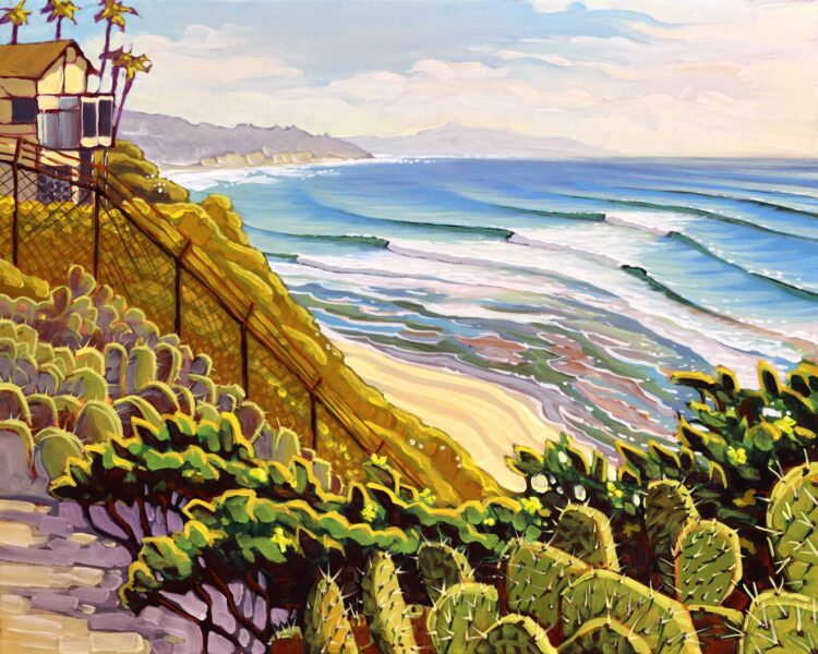 Plein air artwork from the J street lookout over Swami's point in Encinitas on the san diego coast of California