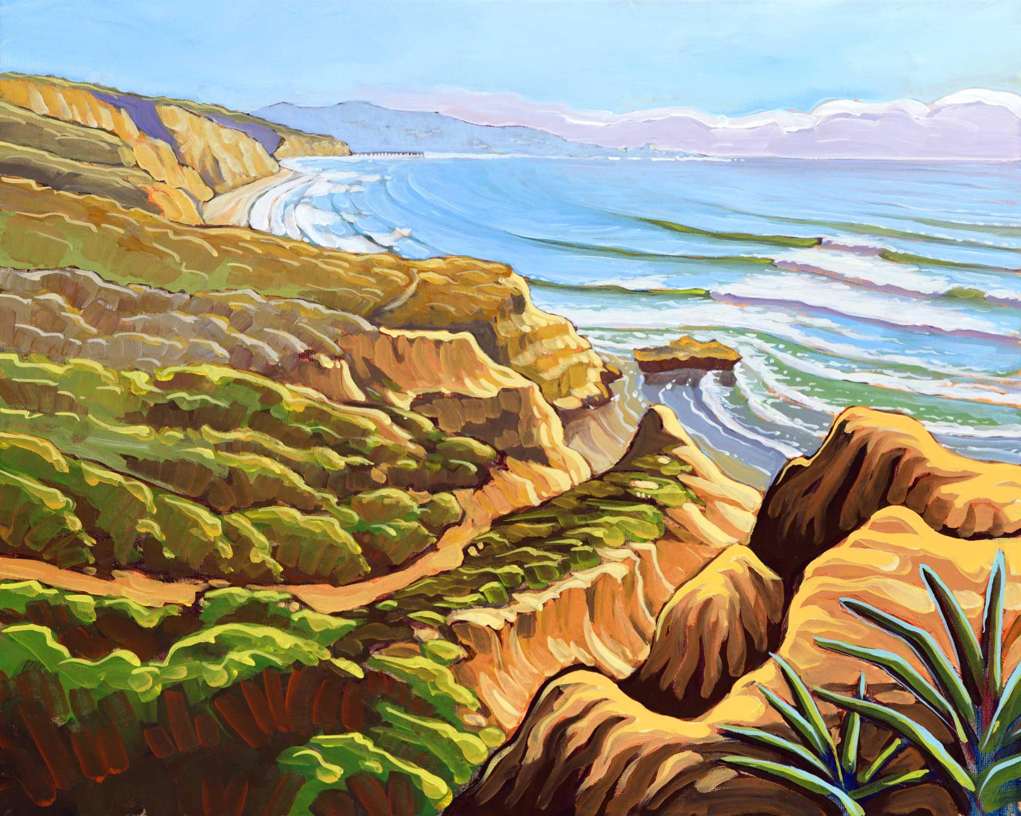 Plein air artwork from Torrey Pines State Park looking toward Black's Beach on the san diego coast of California