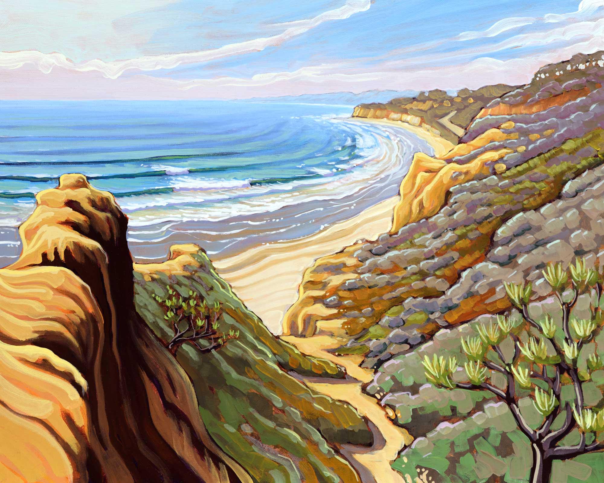 Plein air artwork form Torrey Pines State Park at Razor point on the San Diego coast of southern california