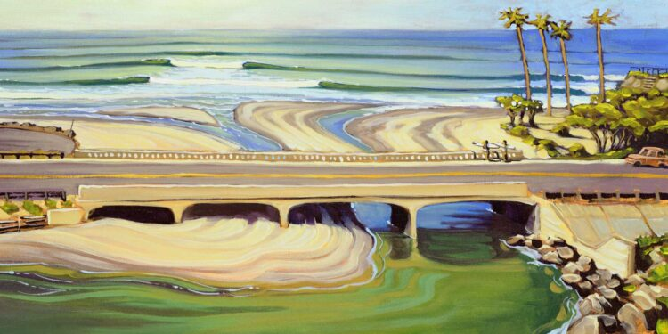 Plein air artwork of Cardiff reef and the pacfic coast highway on the san diego coast of southern california