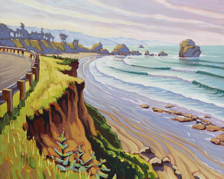 Plein air artwork from beside the road at Pebble Beach in crescent city on the del norte coast of northern California