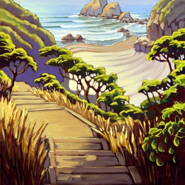 Plein air artwork from the path to the beach at Camel Rock/Houda Point on the Trinidad coast of Humboldt California