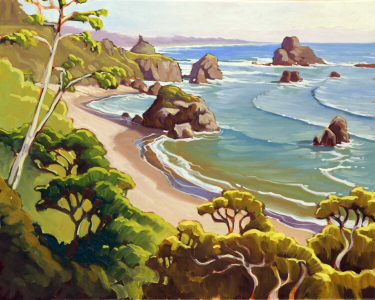 Oil Painting plein air artwork from the Trinidad coast of Humboldt County in northern California