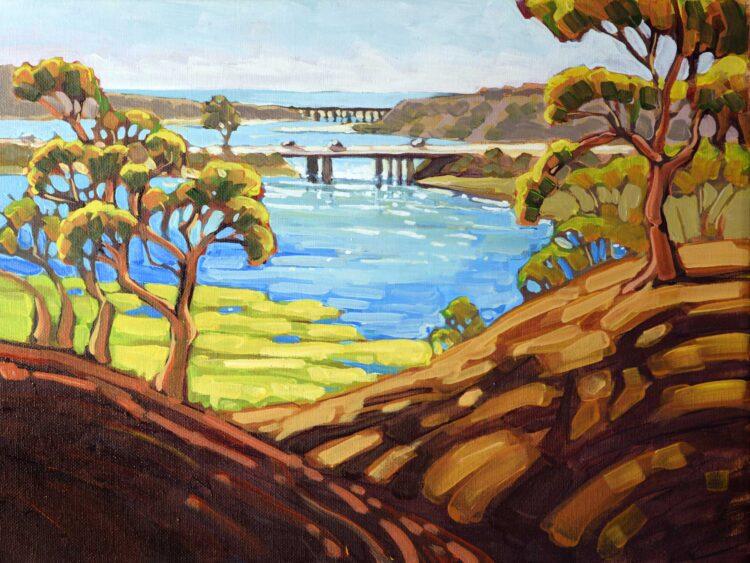Plein air artwork from Batitquos Lagoon looking toward Ponto Beach on the San Diego coast of southern California
