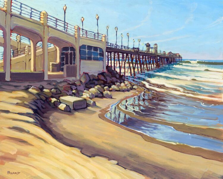 Plein air artwork from Oceanside Pier on the San Diego coast of southern California