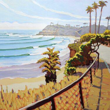 Plein air artwork from San Elijo State Beach looking toward Swami's on the San Diego coast of southern california