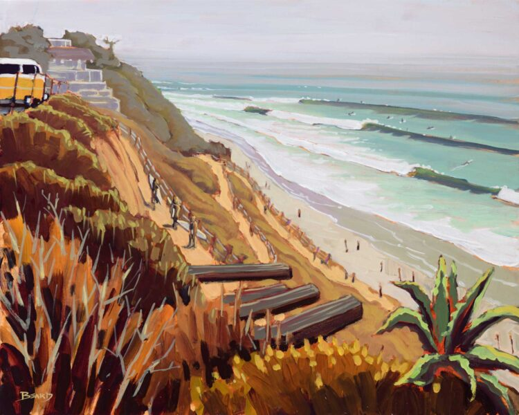 Plein air artwork of the trail to Beacon's Beach on the San Diego coast of southern California
