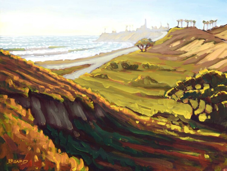 Plein air artwork of the Pacific Coast Highway at Carlsbad state park on the san diego coast of southern california
