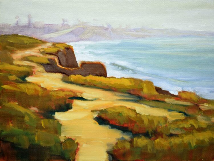 Plein air oil painting artwork from South Carsbad State Park on the San Diego coast of southern California