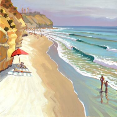 Plein air artwork from Stone Steps in Leucadia on the San Diego coast of southern California