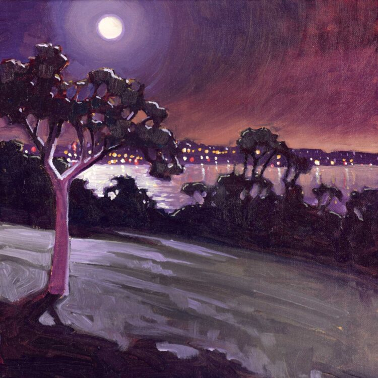 Plein air nocturne artwork of city lights over San Diego Harbor at Kate Sessions Park in San Diego