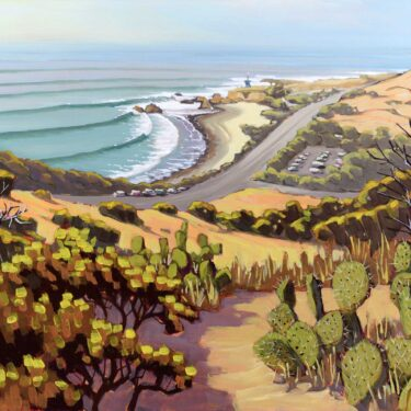 Plein air artwork of Leo Carillo State Park on the Malibu coast of los angeles county in southern California