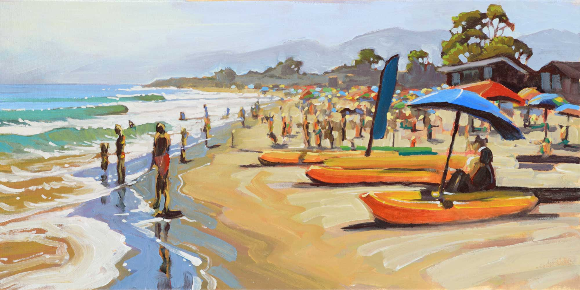 Plein air artwork of beachgoers escaping the heat at Carpenteria beach on the Santa Barbara coast of California