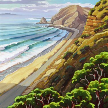 Plein air artwork overlooking Pacific Coast Highway near Point Mugo on the Ventura coast of southern California