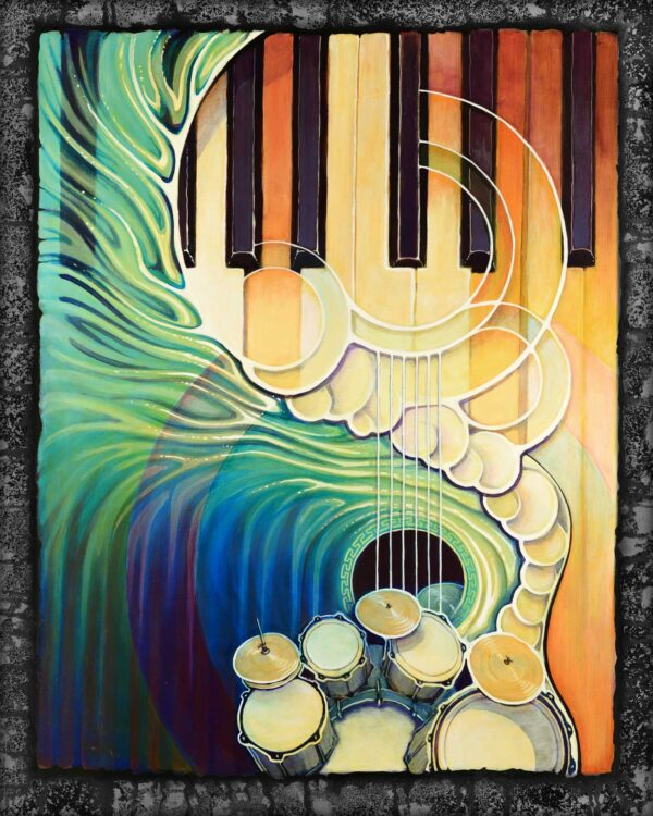 Live art painting of a piano wave painted for Humboldt's Redwood Coast Music Festival