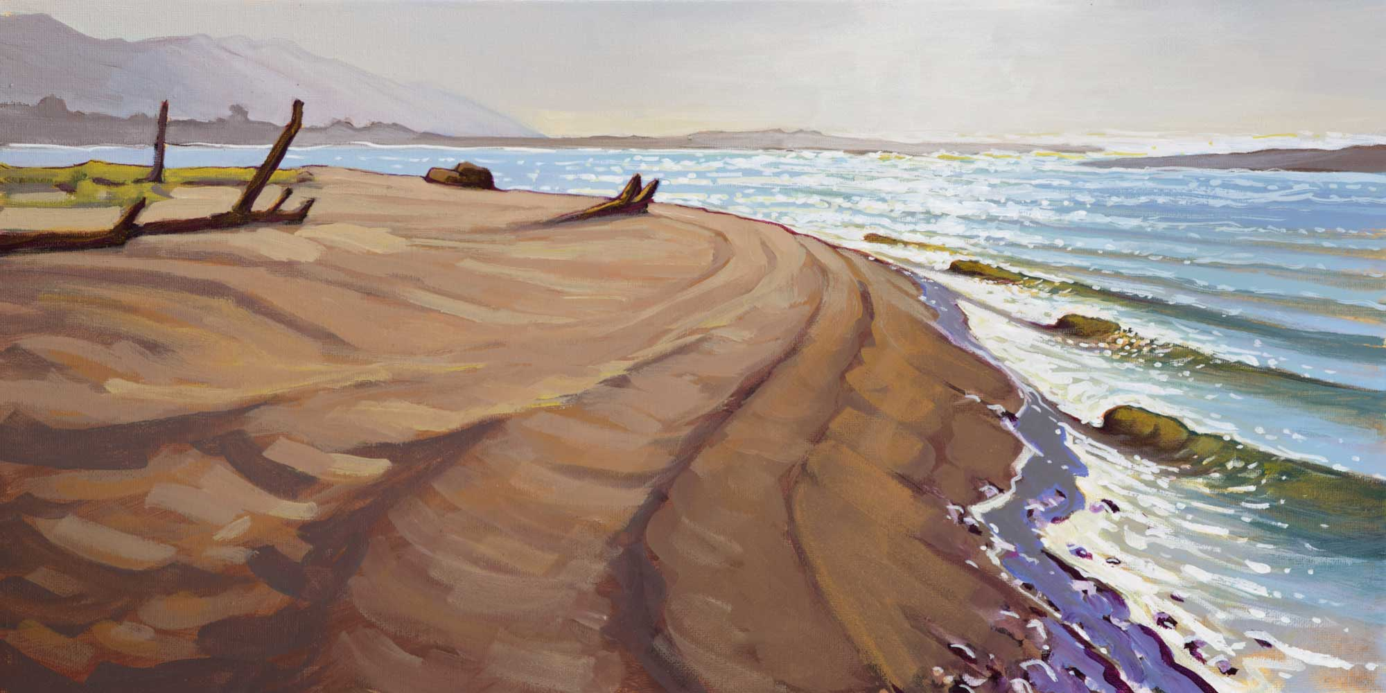 Plein air artwork of the mouth of the Eel River at Crab Park in Humboldt County, California
