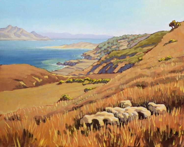 Plein air artwork of view of Skunk Point and Santa Cruz island from Santa Rosa Island off the coast of California