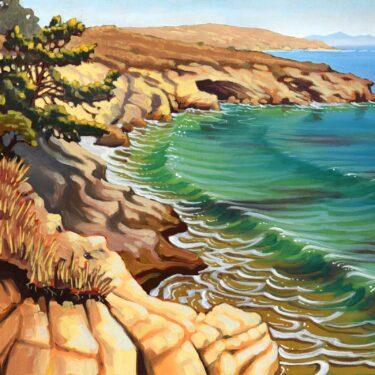 Plein air artwork of Torrey pine tree over Black Rock on Santa Rosa Island off the coast of southern California