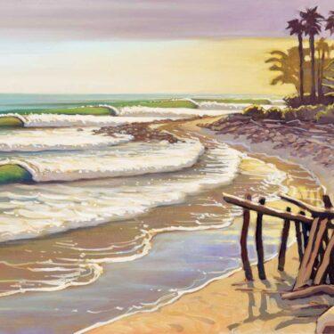 Plein air artwork from the cove at Rincon Point on the Santa Barbara/Ventura coast of southern California