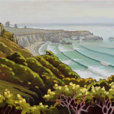 Plein air artwork overlooking Sand Dollar Beach on California's Big Sur coast in Monterey county