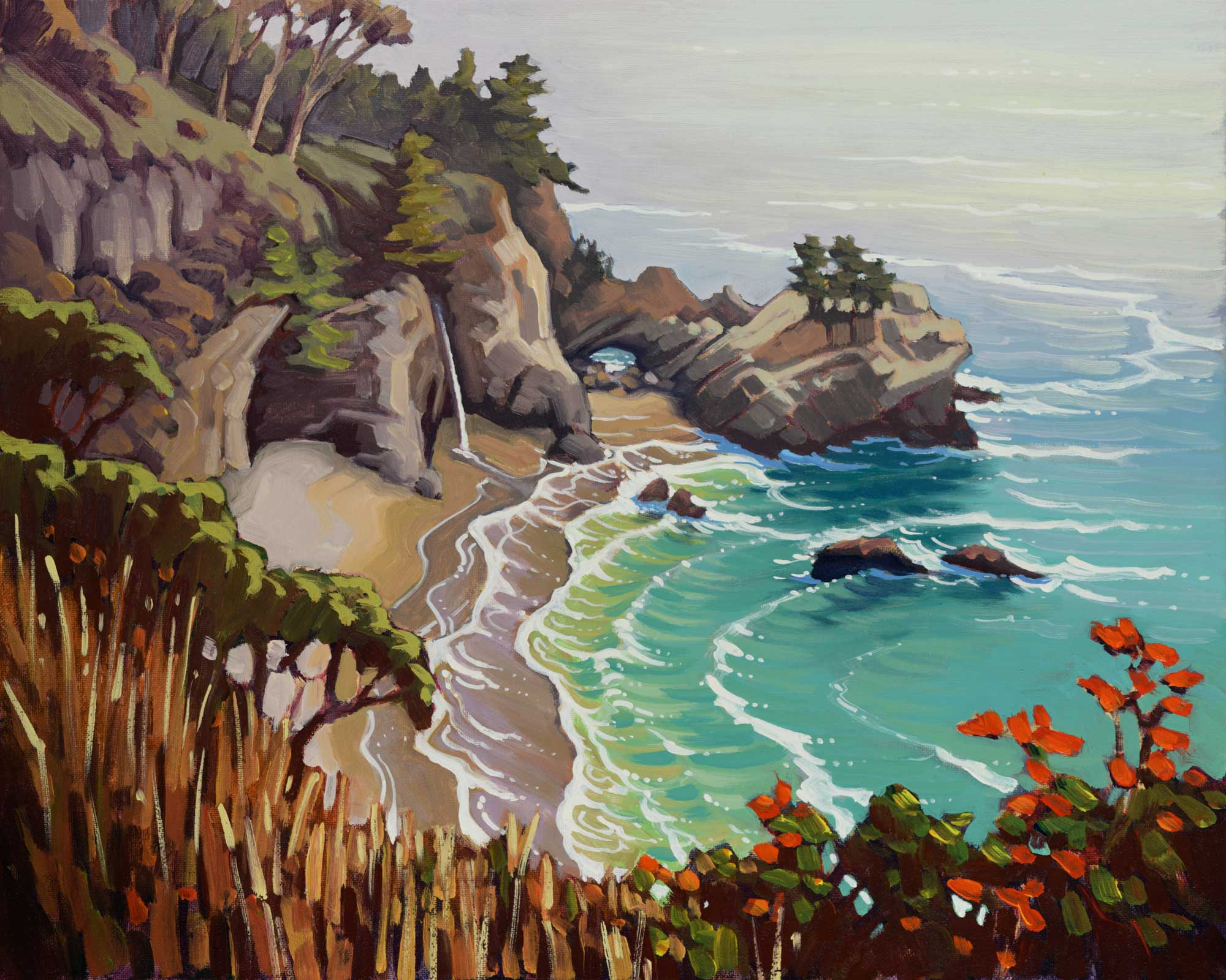 Plein air artwork of McWay Falls on the Big Sur Coast of Monterey in Central California
