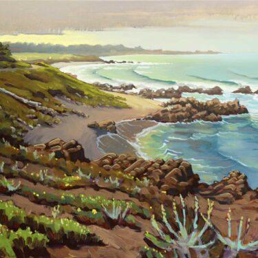 Plein air artwork from Asilomar beach near Pacific Grove on the Monterey coast of California