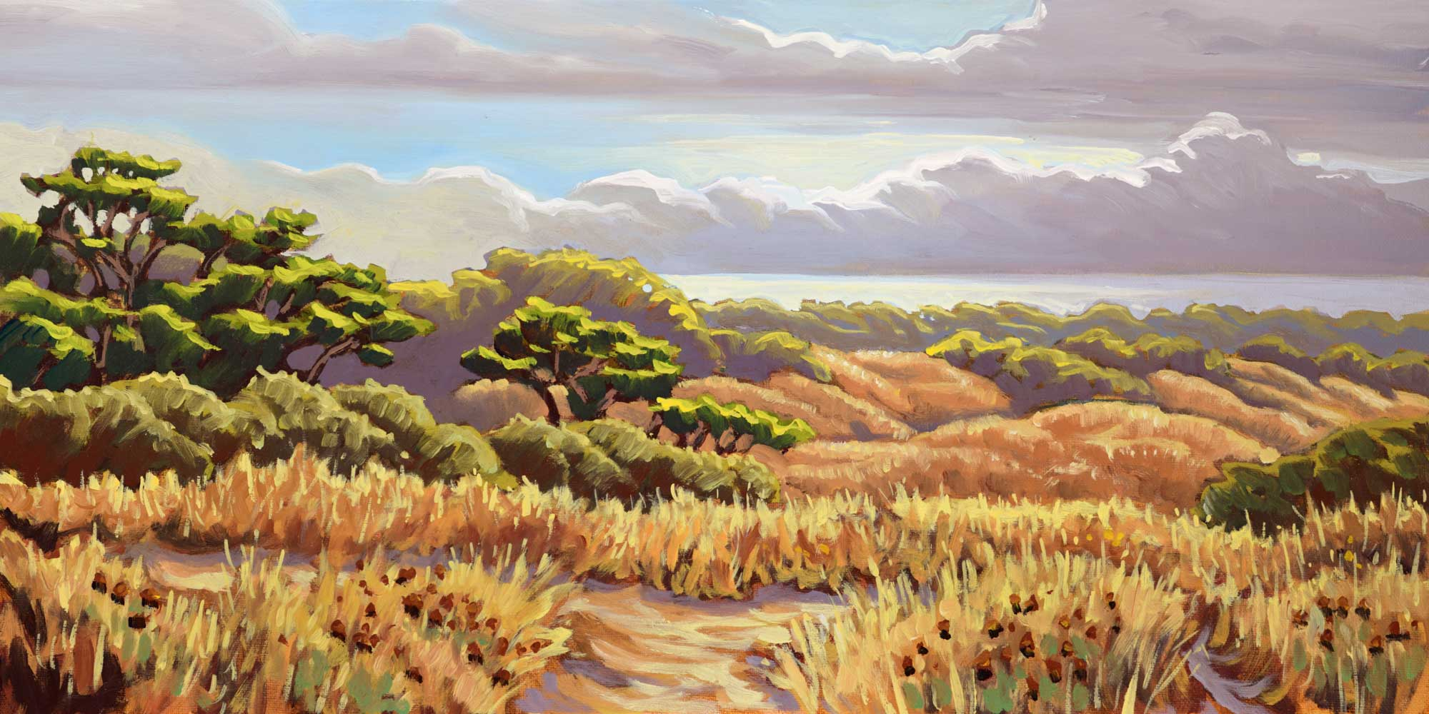 Plein air artwork from the Manila Dunes on the samoa peninsula on the humboldt coast of Northern California