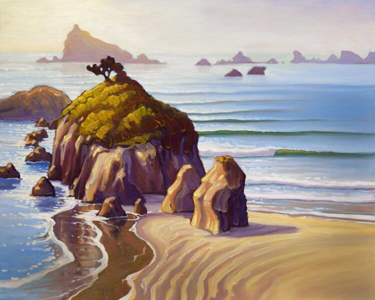 Plein air oil painting artwork of Pebble Beach in Crescent City on the Del Norte Coast of northern California