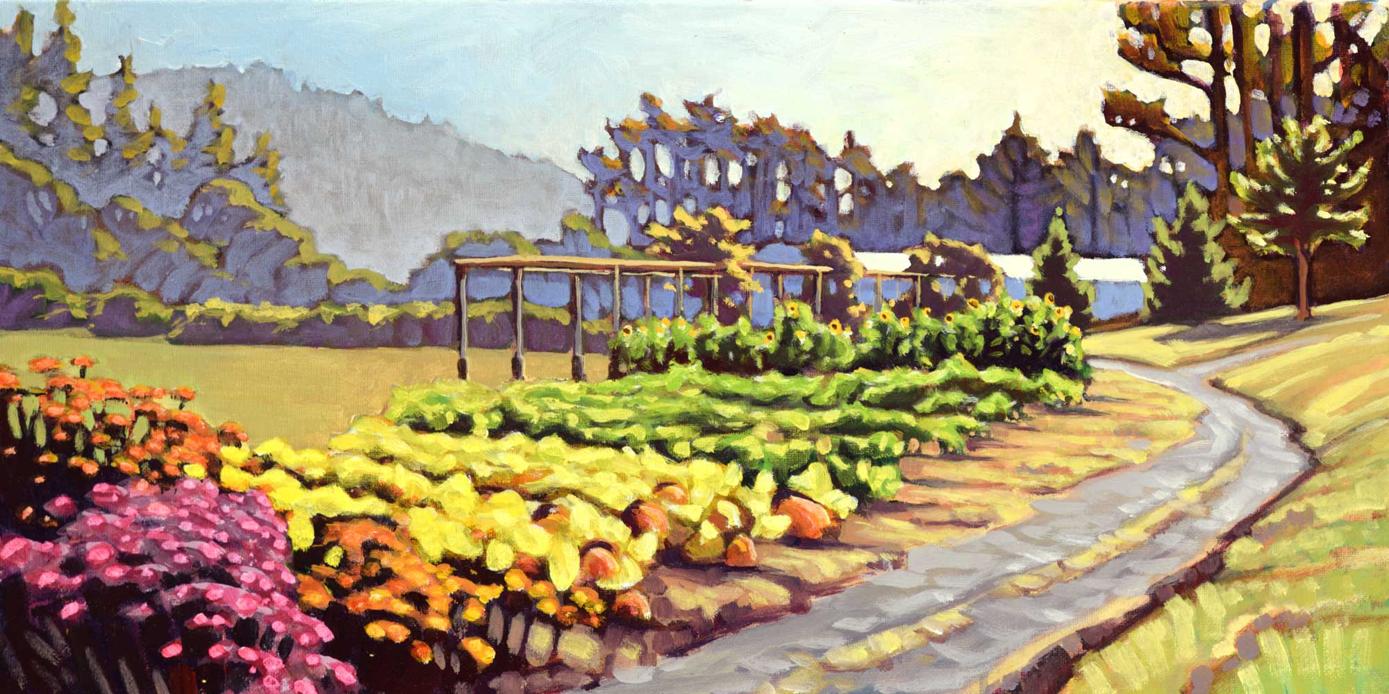 Plein air painting of the Humboldt Botanical Gardens in northern California