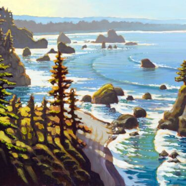 Plein air painting of Humboldt County's rocky Trinidad coast in Northern California
