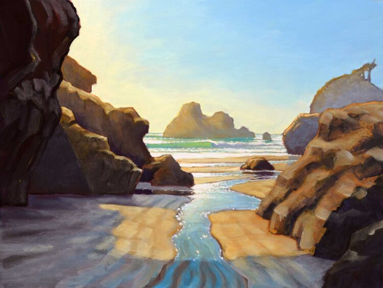 Plein air painting of the beach at Houda Point looking out to Camel Rock on the Humboldt Coast of Northern California