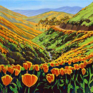 Plein air artwork of California Poppies superbloom near Walker Canyon in Southern California