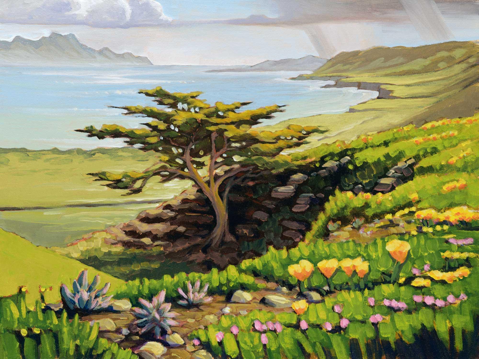 Plein air artwork overlooking Becher's Bay and Santa Cruz Island from Santa Rosa Island off the coast of California