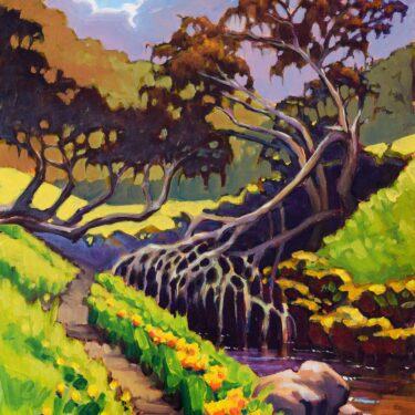 Plein air artwork from Santa Rosa Island's Lobo Canyon trail in Channel Islands National Park in Southern California
