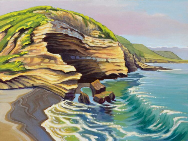 Plein air painting from the coast of Santa Rosa Island in Channel islands National Park in southern California