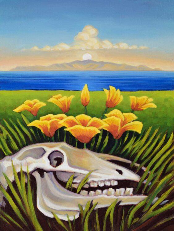Plein air painting of an Island Poppy and a cow skull on Santa Rosa island looking toward Santa Cruz Channel Islands