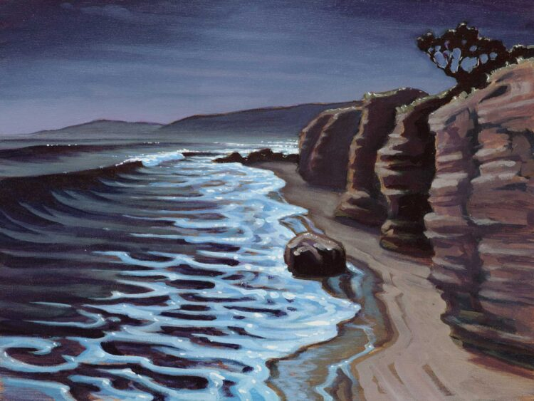 Plein air nocturne painting from the pier at Becher's Bay on Santa Rosa island off the coast of southern California