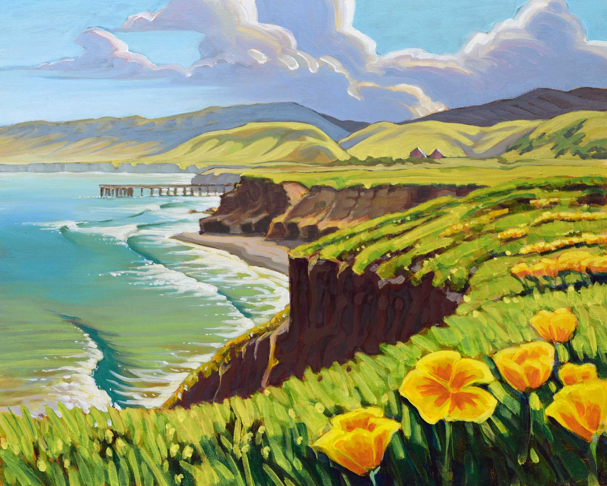 Plein air painting of two barns and the pier at Becher's Bay on Santa Rosa Island off the coast of Southern California